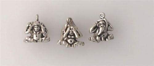 3 Wise Monkeys solid sterling silver charm pendants handmade artisan jewellery Turkish tassel /& sterling snake chain