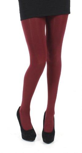 Pamela Mann 80 Denier Opaque Tights - Burgundy 8-14 (Coloured Opaque Tights)