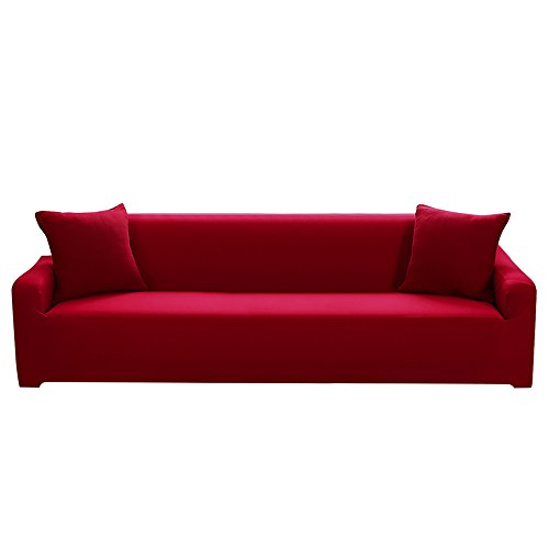 Four Seater - Boshen Stretch Seat Chair Covers Couch Slipcover Sofa Loveseat Cover 9 Colors/4 Size Available for 1 2 3 4 Four People Sofa + Pillowcase (4 Seater, Red)