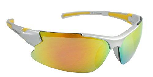 Optic Edge Ricochet Matte Silver Frame and Fire Orange Mirror - Optic Sunglasses Edge