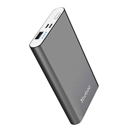 Yoobao Portable Charger Power Bank Apple & Micro Input 8000mAh Compact Powerbank External Cellphone Battery Backup Pack Compatible iPhone X 8 7 6 Plus Android Smartphone Samsung Galaxy etc- Gray