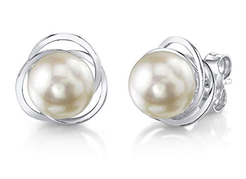 THE PEARL SOURCE 14K Gold AAA Quality Round Genuine White Akoya Cultured Pearl Lexi Earrings for Women