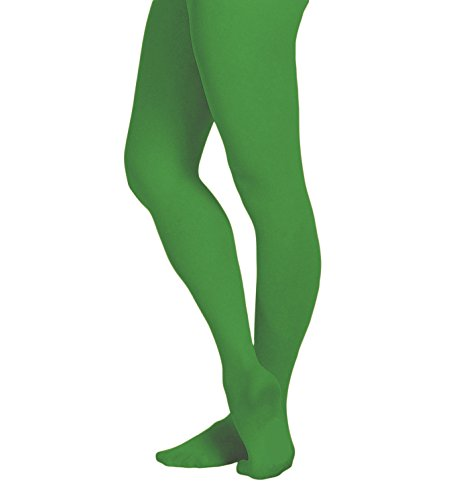 EMEM Apparel Girls' Kids Childerns Solid Colored Opaque Dance Ballet Costume Microfiber Footed Tights Stockings Fashion Kelly Green 6-8