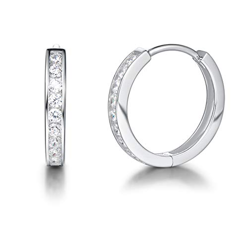 Carleen 925 Sterling Silver Channel Set Round Cut 9-stone Cubic Zirconia CZ Hinged Hoop Earrings for Women Girls Diameter ()