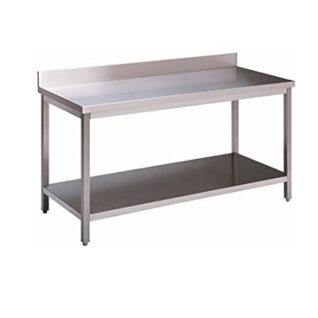 Mesa de acero inoxidable con estante de fondo y con alzatina Dim ...