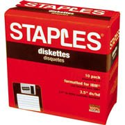 Staples® 3.5'' Formatted Diskettes, IBM DS-HD, Black, Pack of 10 by Staples