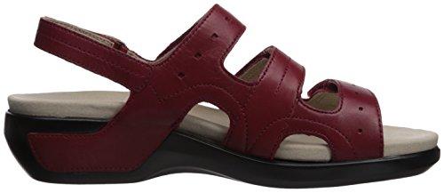 Aravon Womens Pc Sandalo Con Tre Cinturini In Pelle Rossa Rio