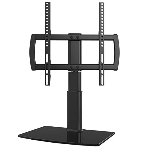 Universal Swivel TV Stand/Base Table Top TV Stand 27 to 55 inch TVs 80 Degree Swivel, 4 Level Height Adjustable, Heavy Duty Tempered Glass Base, Holds up to 99lbs Screens, HT04B-001 15 Degree Adjustable Wrenches