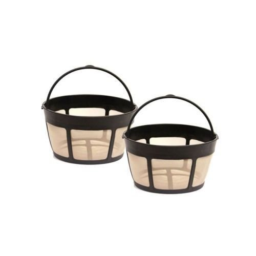 2 Pack Gtf-b Gold Tone Coffee Filter 8-12 Cup Permanent Basket Style ()