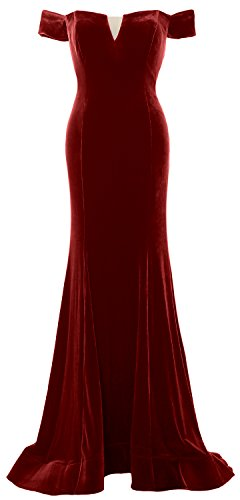 MACloth Women Mermaid Off Shoulder Prom Gown Elegant Velvet Formal Evening Dress Burgundy