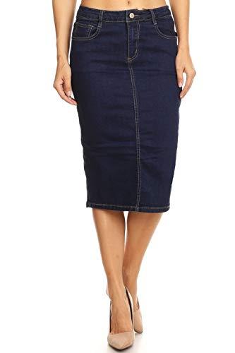 Women's Plus Size Mid Waist Below Knee Length Denim Skirt in a Pencil Silhouette in Navy Size - Straight Skirt Denim