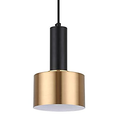 Modern Mini Pendant Light with 4W LED Bulb, One-Light Adjustable Metal Pendant Lighting Fixture for Kitchen Island Cafe Bar, Gold and Black
