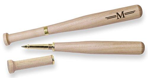 Baseball Bat Pen Maple Wood Laser Engraved M