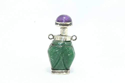PH Artistic Antique Perfume Snuff Bottle Silver Green Jade Round Amethyst Stone Cap
