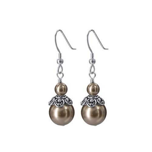 Gem Avenue 925 Sterling Silver Made with Swarovski Elements Brown Faux Pearl and Bali Beads Handmade Drop Earrings ()