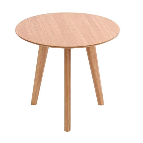 Boomer88 Round Side Table End Table Bamboo Wood Coffee Tea Table Living Room Home Mini Furniture W.19.6 x H.17.7 inches Weight Capacity 22 lb. Home Office Decor