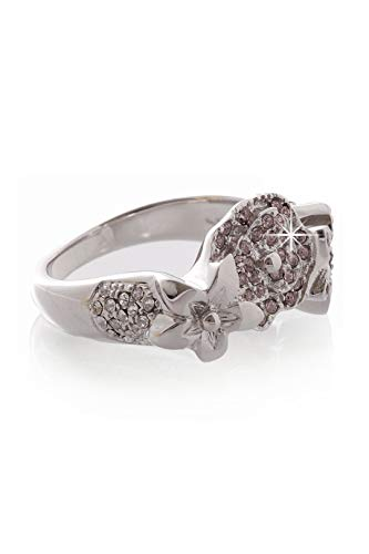 Dior EXOTIC Christian Silver Flower Crystal Ring