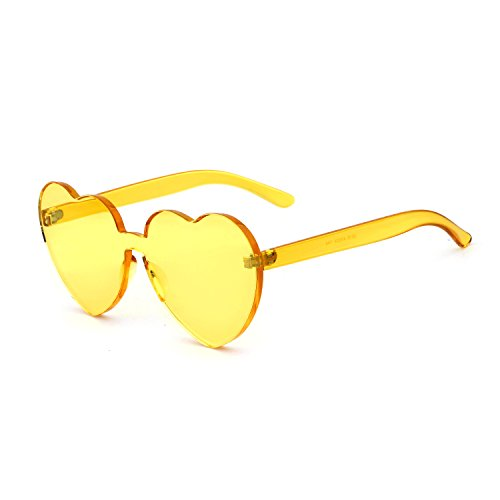 Heart Shaped Rimless Sunglasses Candy Steampunk Lens for women - Sunglasses Heart 2017 Best For Shaped Face