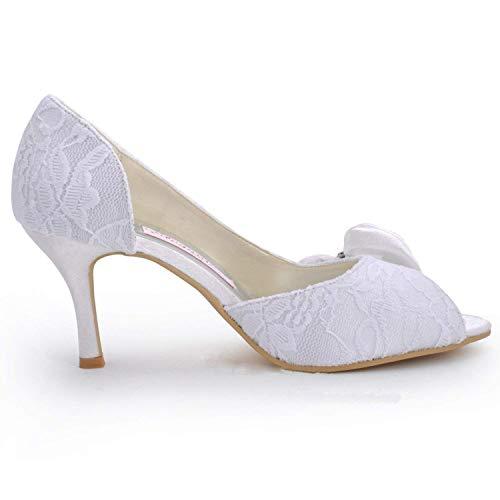 Dimensione Dimensione MZ570 MZ570 MZ570 ZHRUI Colore 5cm Scarpe Sandali Tacco Heel 7 UK Pizzo 5 Bowknot da 7 4 Womens Heel White Toe Red Sposa 5cm Peep Alto 5r5vTP7p
