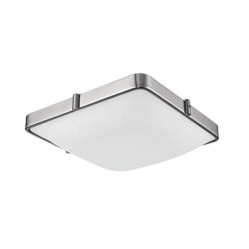 (1 Light Flush Mount in Brushed Nickel with Glass - White Opal)
