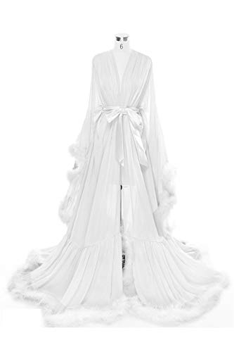 BBCbridal Women Sexy Feather Long Wedding Scarf Illusion Nightgown Robe Perspective Sheer Bathrobe Sleepwear A White S/M