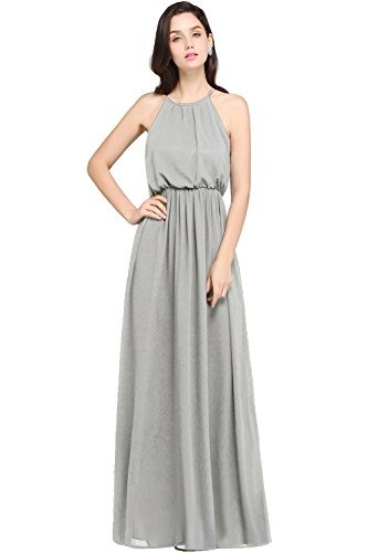 Babyonlinedress Women's Halter Solid Sleeveless Long Maxi Dress, Silver, 6
