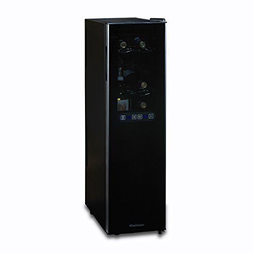 (Wine Enthusiast Silent 18 Bottle Wine Refrigerator - Freestanding Slimline Upright Bottle Storage Wine Cooler, Black)