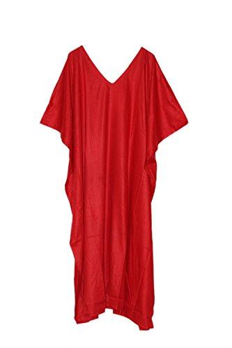 theblueeve Free Size Plain Kaftan Long Maxi Kimono Caftan Gown Nightdress Beach Party Casual Dress (Red) - Red Kaftan