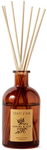Craft & Kin Reed Diffuser Sticks Jasmine & Lily Scent Set, includes 8 Rattan Scented Sticks Diffuser Reeds, All-Natural Essential Oil & Elegant Amber Glass Vase (5.75oz), Provides Constant Fragrance