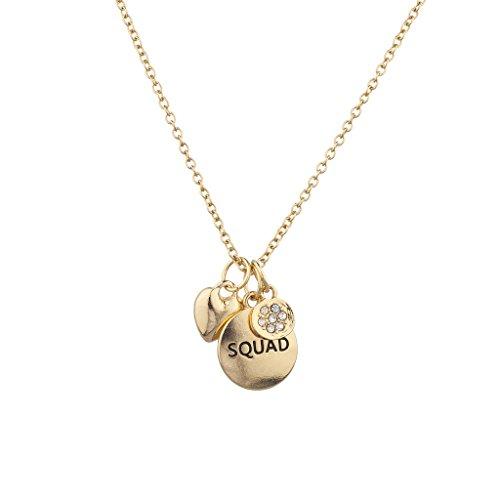 Lux Accessories Goldtone Squad Best Friends Heart Pave Cluster Charm Necklace