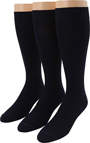Blend Knee Socks - HUE Women's Flat Knit Knee Socks (Pack of 3),Navy,One Size
