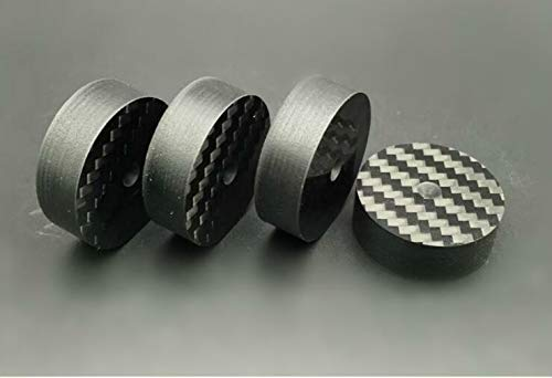 FidgetGear 4X 40x10mm Carbon Fiber Speaker Spike Cone Pad Isolation Base Feet HiFi