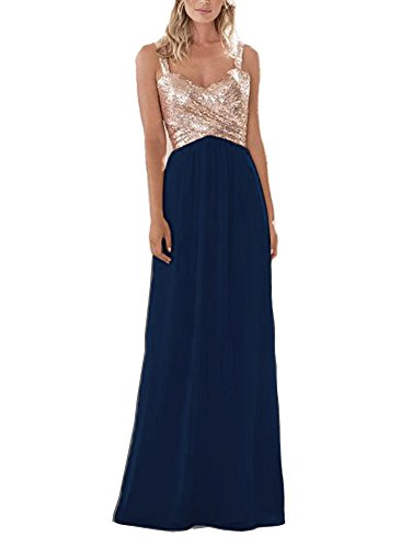 Gold Sequined Long/Short Bridesmaid Dress A Line Sweetheart Prom Dresses Navy US12 ()