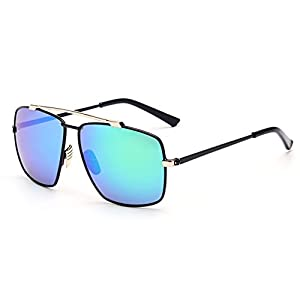 LOMOL High-end Mens Fashion Dazzle Color Personality Metal Frame Cycling Sunglasses(C1)