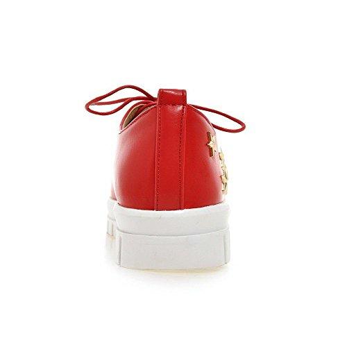 Amoonyfashion Damesschoen Zacht Materiaal Vetersluiting Ronde Dichte Neus Lage Hakken Stevige Pumps-schoenen Rood