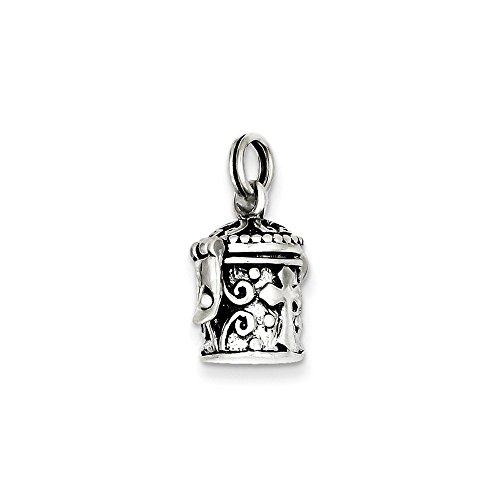 .925 Sterling Silver Antiqued 3-D Cross Prayer Box Opens Charm Pendant Antiqued Prayer Box Charm