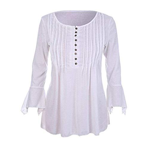 Fit Blanc Elgante Manches Automne Button Slim Femme Volants Casual Vetement Chemise Branch Blouse Cou Uni Shirts Haut Mode Manche Trompette Basic Chemisier V BxUwqSS
