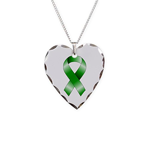 CafePress - Green Ribbon - Charm Necklace with Heart Pendant