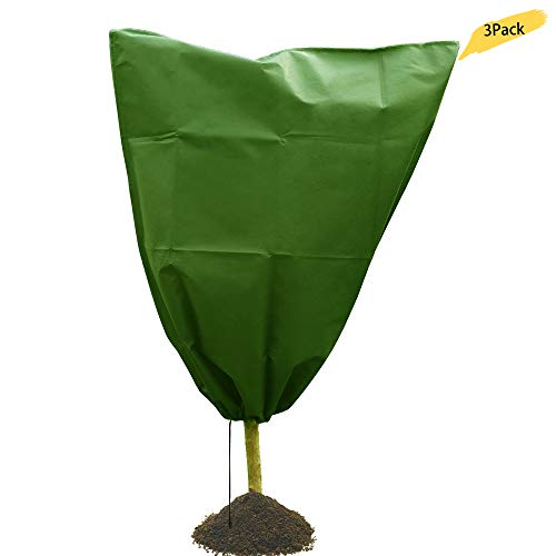 ZAILHWK Frost Plant Cover, Fabric Plant Cover Warm Worth Frost Drawstring Plant Cover Insect Barrier Bag Rectangle Blanket Shrub Jacket Season Extension Frost Protection,Green,3 Pack,31″ x 39″