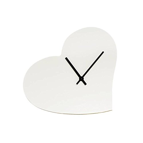 """Wall Clock Heart Shaped, modern design """"Subli"""", 38.5x28x5 cm, made out of MDF (FAN UNIKATE powered by CRISTALICA)"""