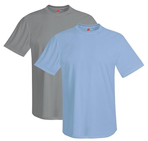Hanes mens 4 oz. Cool Dri T-Shirt(4820)-Graphite/Light Blue-2XL