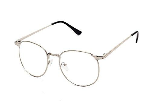 Flowertree S3115 Metal Frame Engraved Detail Side Round Eyeglasses (silver, - Round Metal Optical Glasses