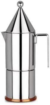 Alessi La Conica 90002/3 Cafetera para Café Exprés de Diseño, Acero Inoxidable y Fondo en Cobre, Plateado, 3 Tazas: Amazon.es: Hogar