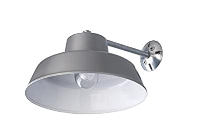 1 Light Barn and Garage Ceiling or Wall Mount All Weather Light, Grey