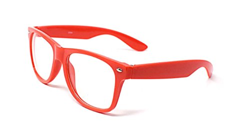 World Book Day Costumes Ideas For Girls (Red Adult Costume Glasses Classic Style Glasses Multi Colour Clear Lens Classic Frames Perfect for Costumes Parties Costume Cos Play Glasses Gift Nerds Glasses Men Nerd Glasses Hipsters)