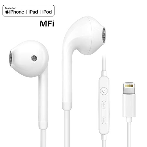 Lighting Earbuds, Popa in-Ear Headphones Earphones with Microphone and Remote, MFi Certified, Compatible with iPhone 11 Pro Max/X/XS/XS MAX/XR/8/8P/7/7P/iPad Pro/iPad Air/iPad Mini/iPod
