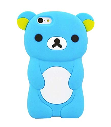 (iPod Touch 6 Case, iPod Touch 5 Case, 3D Cute Cartoon Bear Animal Shaped Kids Girls Soft Rubber Silicone Shockproof Case Protector Skin Cover for iPod Touch 6th 5th Generation (Navy))