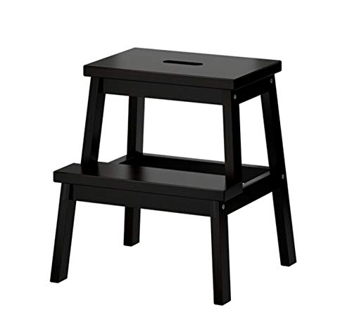FEI Multifunctional Solid Wood Pedestal Stool Double Stool Small Non-Slip Ascending Ladder Step Stool Footstool Wash Stool 50x45x39x25cm (Color : Black)