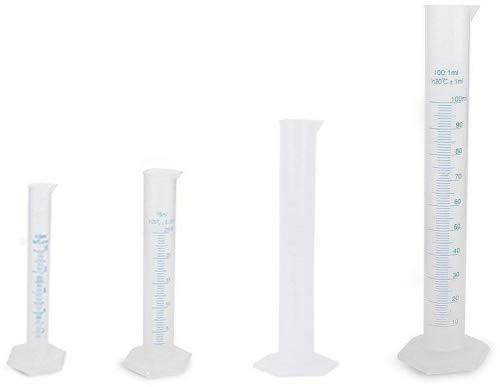 4 cilindros de pl/ástico transparente de 10/ml de la marca Nuolux 50/ml y 100/ml 25/ml
