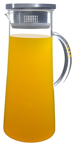 50 Oz Large Heat Resistant Glass Beverage Pitcher with Stainless Steel Lid - Borosilicate Water Carafe with Spout and Handle - Perfect for Homemade Juice & Iced Tea by - Ounce 50 Beverage